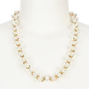 NWT Kate Spade White Nouveau Pearls Chain Link Gol
